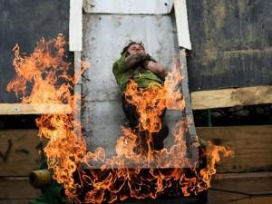 Obstáculo con fuego en la Tough Mudder